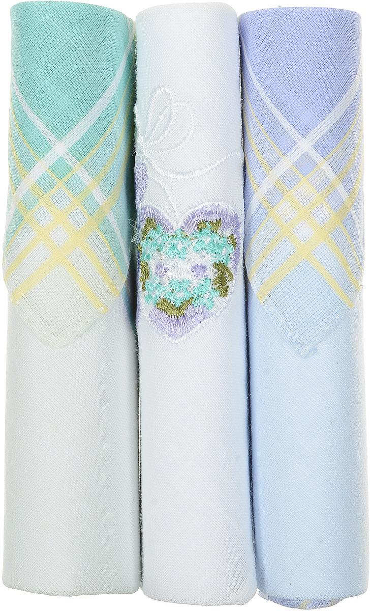Платок носовой женский Zlata Korunka, цвет: бирюзовый, белый, голубой, 3 шт. 40423-1. Размер 28 см х 28 см40423-1Небольшой женский носовой платок Zlata Korunka изготовлен из высококачественного натурального хлопка, благодаря чему приятен в использовании, хорошо стирается, не садится и отлично впитывает влагу. Практичный и изящный носовой платок будет незаменим в повседневной жизни любого современного человека. Такой платок послужит стильным аксессуаром и подчеркнет ваше превосходное чувство вкуса. В комплекте 3 платка.
