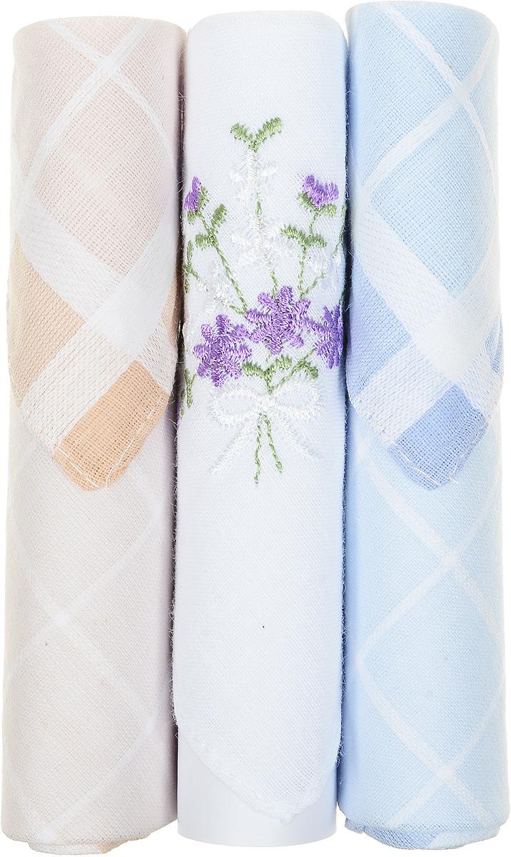 Платок носовой женский Zlata Korunka, цвет: бежевый, белый, голубой, 3 шт. 40423-75. Размер 28 см х 28 см40423-75Небольшой женский носовой платок Zlata Korunka изготовлен из высококачественного натурального хлопка, благодаря чему приятен в использовании, хорошо стирается, не садится и отлично впитывает влагу. Практичный и изящный носовой платок будет незаменим в повседневной жизни любого современного человека. Такой платок послужит стильным аксессуаром и подчеркнет ваше превосходное чувство вкуса. В комплекте 3 платка.