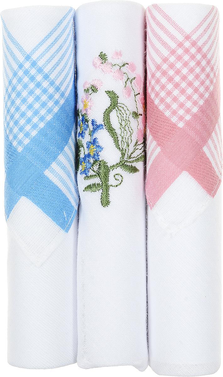 Платок носовой женский Zlata Korunka, цвет: голубой, белый, розовый, 3 шт. 40423-80. Размер 28 см х 28 см40423-80Небольшой женский носовой платок Zlata Korunka изготовлен из высококачественного натурального хлопка, благодаря чему приятен в использовании, хорошо стирается, не садится и отлично впитывает влагу. Практичный и изящный носовой платок будет незаменим в повседневной жизни любого современного человека. Такой платок послужит стильным аксессуаром и подчеркнет ваше превосходное чувство вкуса. В комплекте 3 платка.