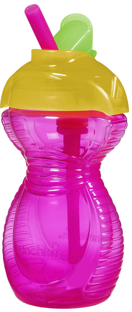Munchkin Бутылочка-поильник Click Lock с трубочкой цвет розовый желтый 296 мл