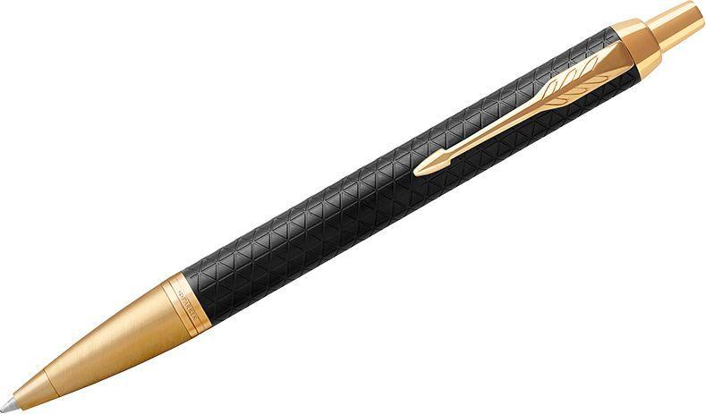 Parker Ручка шариковая IM Premium Black/Gold GT синяя1931667Шариковая ручка в корпусе из матового анодированного алюминия, прошедшего пескоструйную обработку, с фирменным гравированным рисунком. Позолоченная отделка деталей с полировкой
