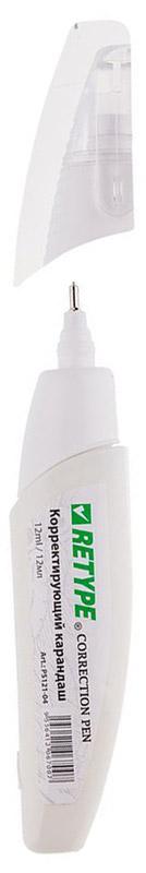 Retype Корректирующий карандаш 12 млPS121-04Корректирующий карандаш с металлическим наконечником. Объем - 12мл. Применяется для точечных и мелких исправлений. Подходит для любого типа бумаги и чернил. Металлический наконечник обеспечивает оптимальную подачу корректирующей жидкости. Быстро сохнет, легко наносится. Не содержит вредных и токсичных элементов, не вызывает аллергических реакций.