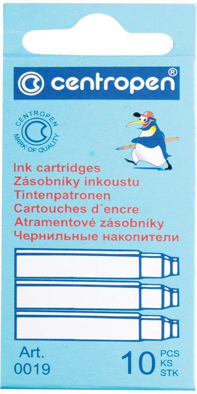Centropen Картриджи чернильные синие 10 шт100191001Сменные картриджи с чернилами позволяют легко и просто заправить перьевую ручку, при этом не испачкавшись. Упаковка - картонная коробка с европодвесом.
