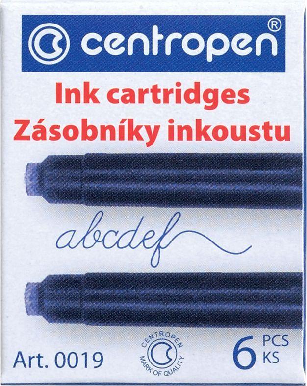 Centropen Картриджи чернильные синие 6 шт100190601Набор сменных картриджей для перьевой ручки. Цвет чернил - синий, в упаковке 6 шт. Сменные картриджи с чернилами позволяют легко и просто заправить перьевую ручку, при этом не испачкавшись. Упаковка - картонная коробка