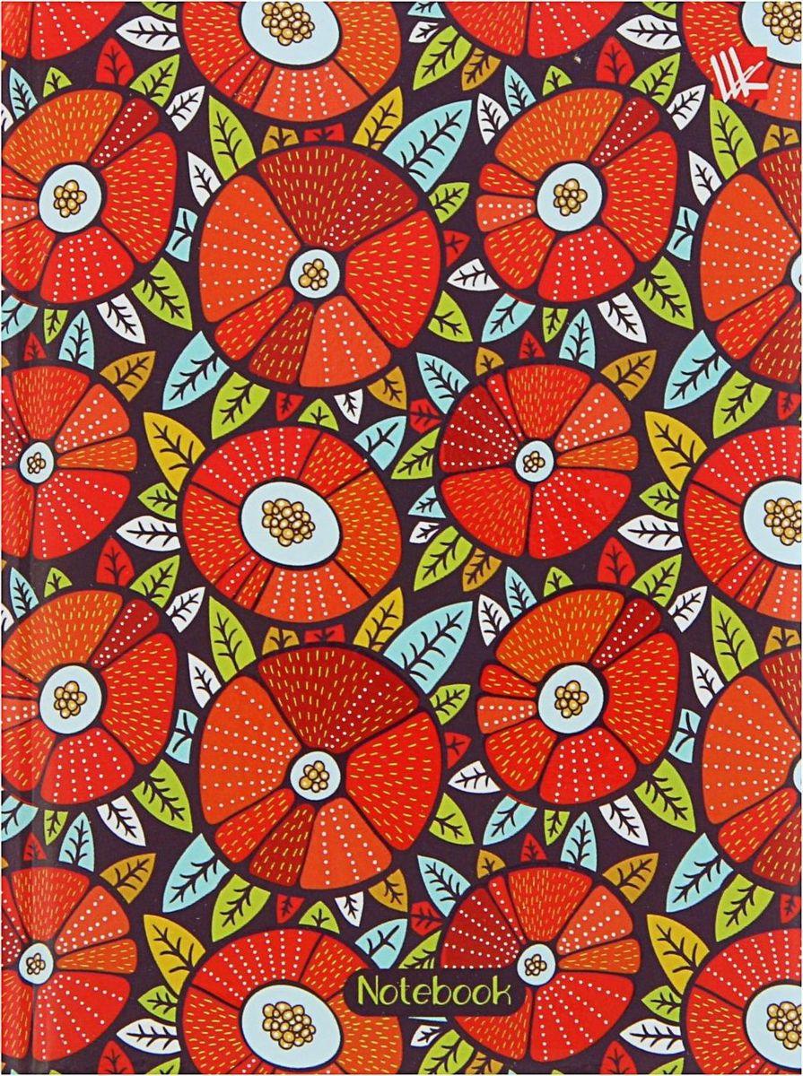 Эксмо Бизнес-блокнот Орнамент Красные цветы 80 листов1820511