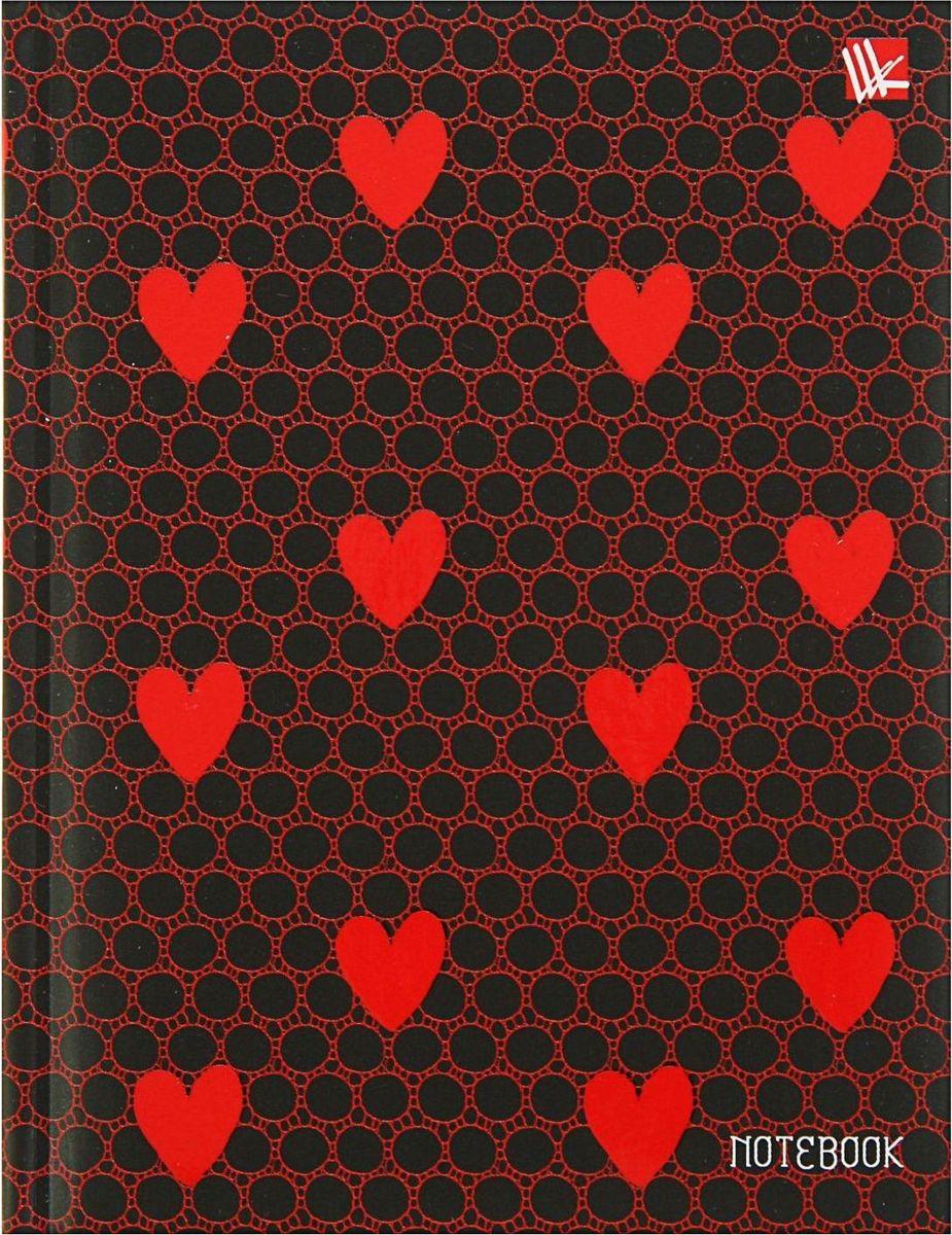 Эксмо Бизнес-блокнот Орнамент Красные сердечки 80 листов1820512