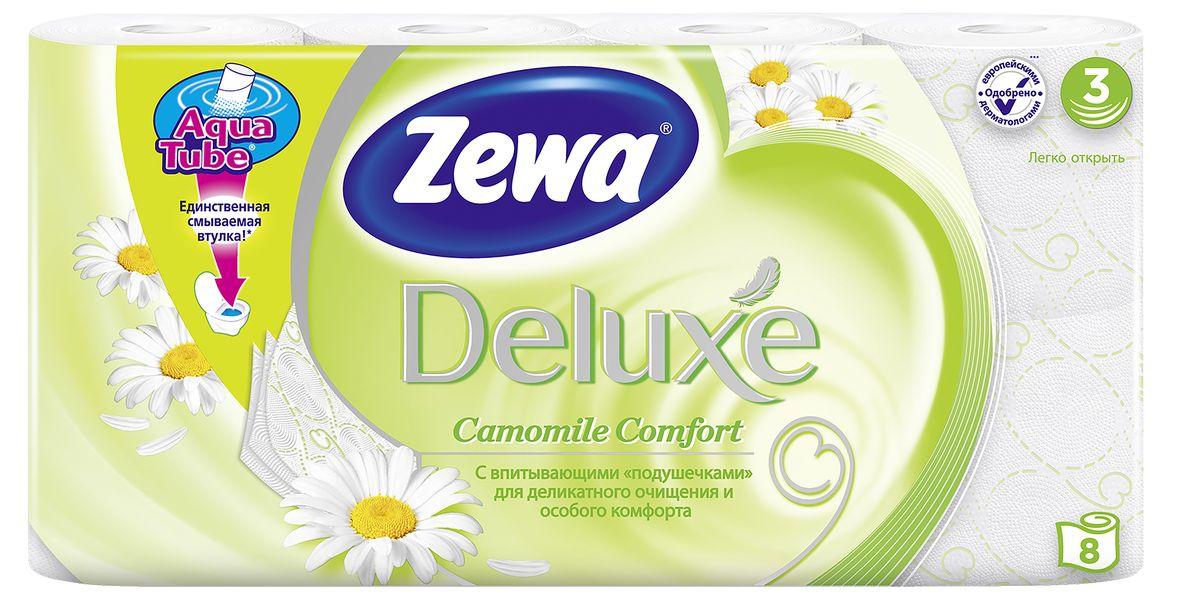 Туалетная бумага Zewa Deluxe Ромашка, 3 слоя, 8 рулонов02.03.05.5365Подарите себе удовольствие от ежедневного ухода за собой. Zewa Deluxe с новыми впитывающими подушечками деликатно очищает и нежно заботится о вашей коже. Мягкость, Забота, Комфорт – вашей коже это понравится! Сенсация! Со смываемой втулкой Aqua Tube! Белая 3-х слойная туалетная бумага с ароматом ромашки 8 рулонов в упаковке Состав: целлюлоза Производство: Россия