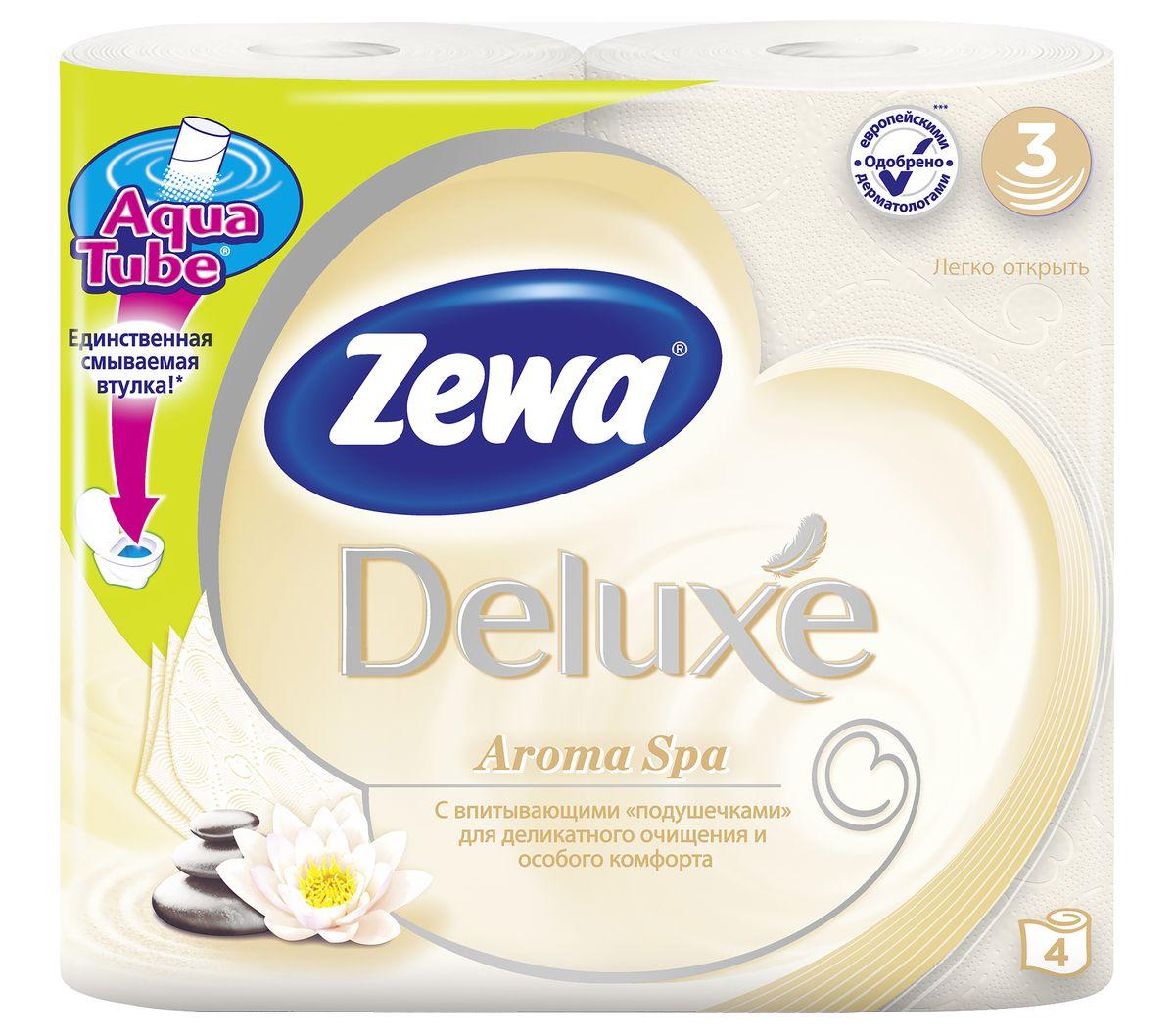 Туалетная бумага Zewa Deluxe АромаСпа, 3 слоя, 4 рулона5361-50Подарите себе удовольствие от ежедневного ухода за собой. Zewa Deluxe с новыми впитывающими подушечками деликатно очищает и нежно заботится о вашей коже. Мягкость, Забота, Комфорт – вашей коже это понравится! Сенсация! Со смываемой втулкой Aqua Tube! 3-х слойная туалетная бумага цвета шампань с тонким ароматом ароматического масла 4 рулона в упаковке Состав: вторичное волокно Производство: Россия