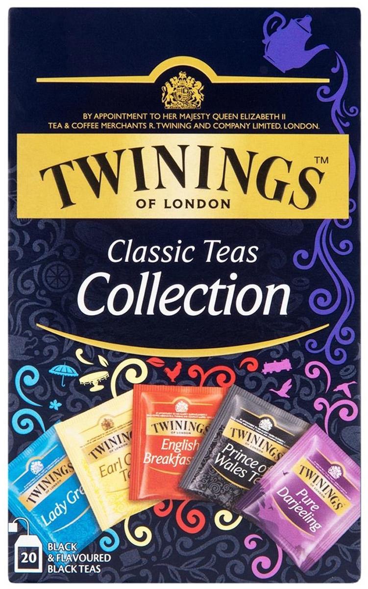 Twinings Classic Collection черный чай пяти видов в пакетиках, 25 шт070177245917Чай Twinings Classic Collection - это специальная упаковка, содержащая 5 видов черного чая Twinings, индивидуально упакованного, по 5 пакетиков каждого вида: Английский чай для завтрака, Эрл Грей, Леди Грей, Принц Уэльский и Дарджилинг. Уважаемые клиенты! Обращаем ваше внимание на то, что упаковка может иметь несколько видов дизайна. Поставка осуществляется в зависимости от наличия на складе.