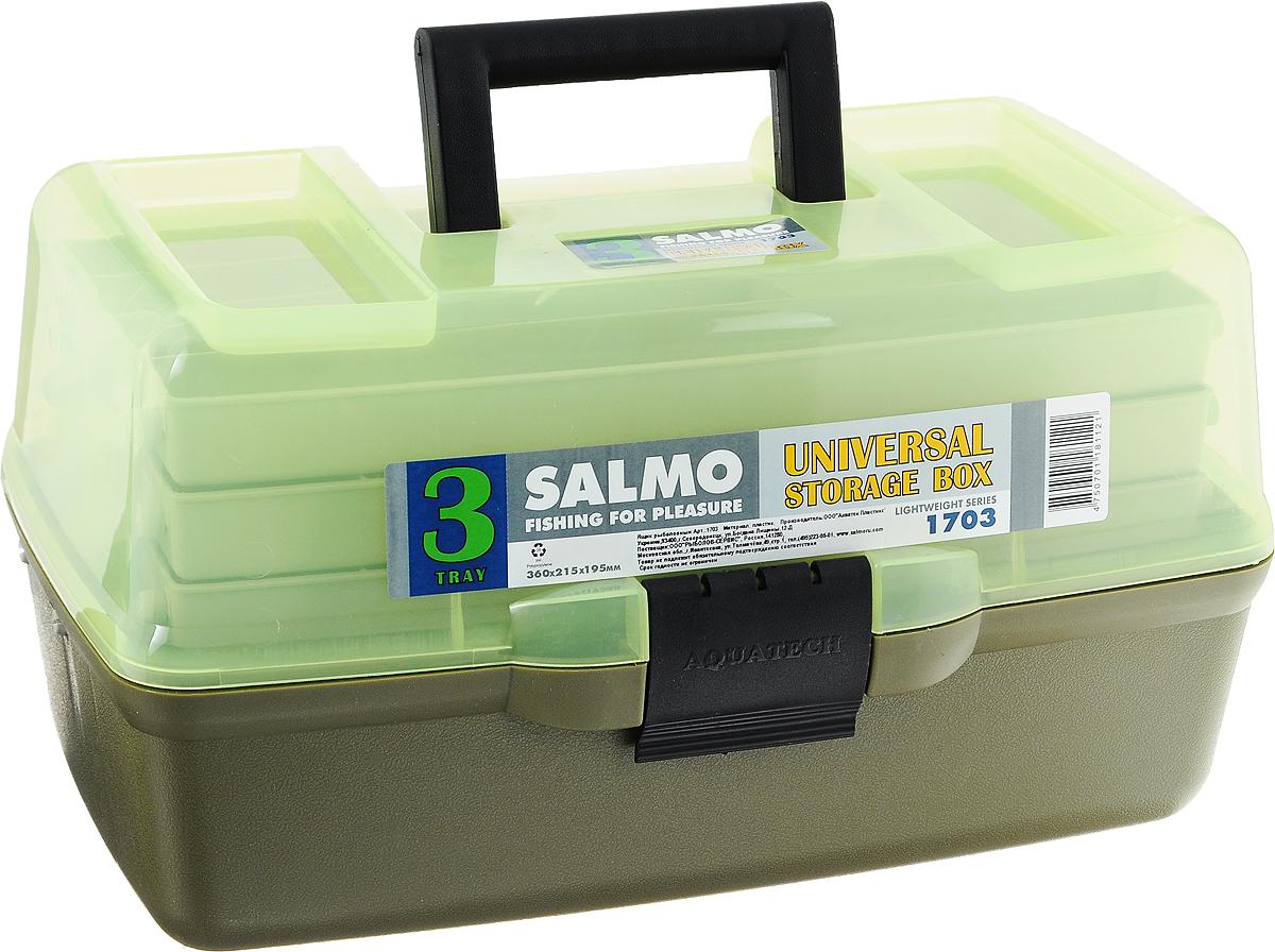 Ящик рыболовный Salmo, трехполочный, цвет: зеленый1703Рыболовный ящик Salmo выполнен из пластика и отлично подойдет рыболовам. Эконом-версия ящика с подъёмными полками. Ящик Salmo более компактен и имеет меньший вес по сравнению с аналогами. Оборудован тремя подъёмными полками. На ручке имеется ручка для переноски. В ящик можно положить все необходимое для длительного нахождения на рыбалке.