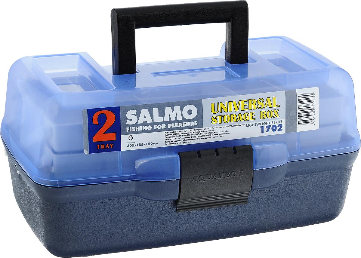 Ящик рыболовный Salmo, двухполочный, цвет: голубой1702Рыболовный ящик Salmo выполнен из пластика и отлично подойдет рыболовам. Эконом-версия ящика с подъёмными полками. Ящик Salmo более компактен и имеет меньший вес по сравнению с аналогами. Оборудован двумя подъёмными полками. В ящик можно положить все необходимое для длительного нахождения на рыбалке.
