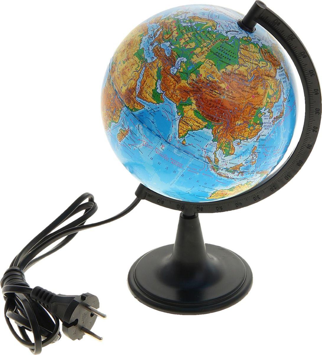 Глобусный мир Глобус физический с подсветкой диаметр 15 см1065208Глобус для всех, глобус каждому! Глобус — самый простой способ привить ребенку любовь к географии. Он является отличным наглядным примером, который способен в игровой доступной и понятной форме объяснить понятия о планете Земля. Также интерес к глобусам проявляют не только детки, но и взрослые. Для многих уменьшенная копия планеты заменяет атлас мира из-за своей доступности и универсальности. Умный подарок! Кому принято дарить глобусы? Всем! Глобус физический диаметр 150 мм, с подсветкой — это уменьшенная копия земного шара, в которой каждый найдет для себя что-то свое. путешественники и заядлые туристы смогут отмечать с помощью стикеров те места, в которых побывали или собираются их посетить деловые и успешные люди оценят такой подарок по достоинству, потому что глобус ассоциируется со статусом и властью преподаватели, ученые, студенты или просто неординарные личности также найдут для глобуса достойное место в своем доме. Итак, спешите заказать...