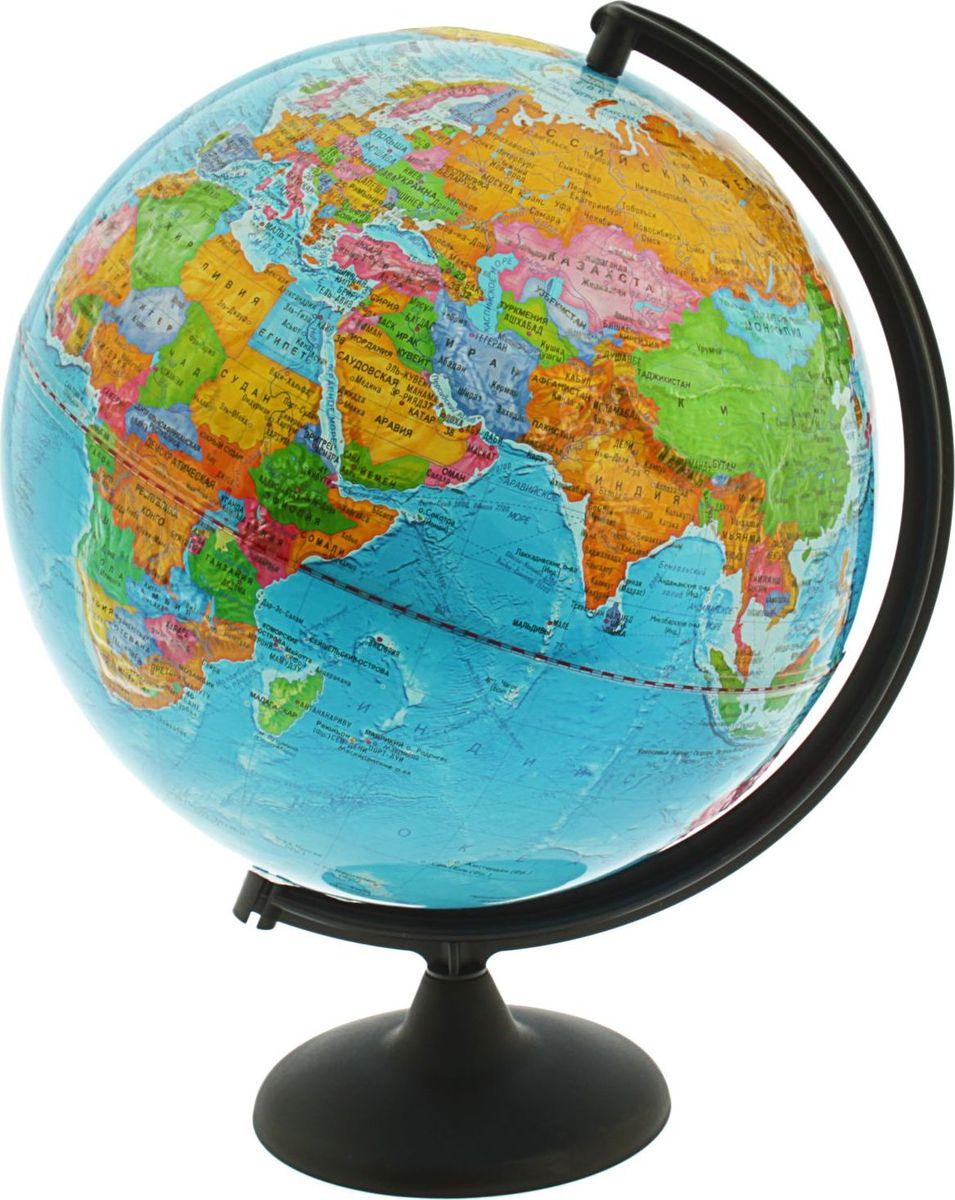 Глобусный мир Глобус политический рельефный диаметр 32 см1065227Глобус для всех, глобус каждому! Глобус — самый простой способ привить ребенку любовь к географии. Он является отличным наглядным примером, который способен в игровой доступной и понятной форме объяснить понятия о планете Земля. Также интерес к глобусам проявляют не только детки, но и взрослые. Для многих уменьшенная копия планеты заменяет атлас мира из-за своей доступности и универсальности. Умный подарок! Кому принято дарить глобусы? Всем! Глобус политический рельефный диаметр 320 мм — это уменьшенная копия земного шара, в которой каждый найдет для себя что-то свое. путешественники и заядлые туристы смогут отмечать с помощью стикеров те места, в которых побывали или собираются их посетить деловые и успешные люди оценят такой подарок по достоинству, потому что глобус ассоциируется со статусом и властью преподаватели, ученые, студенты или просто неординарные личности также найдут для глобуса достойное место в своем доме. Итак, спешите заказать...