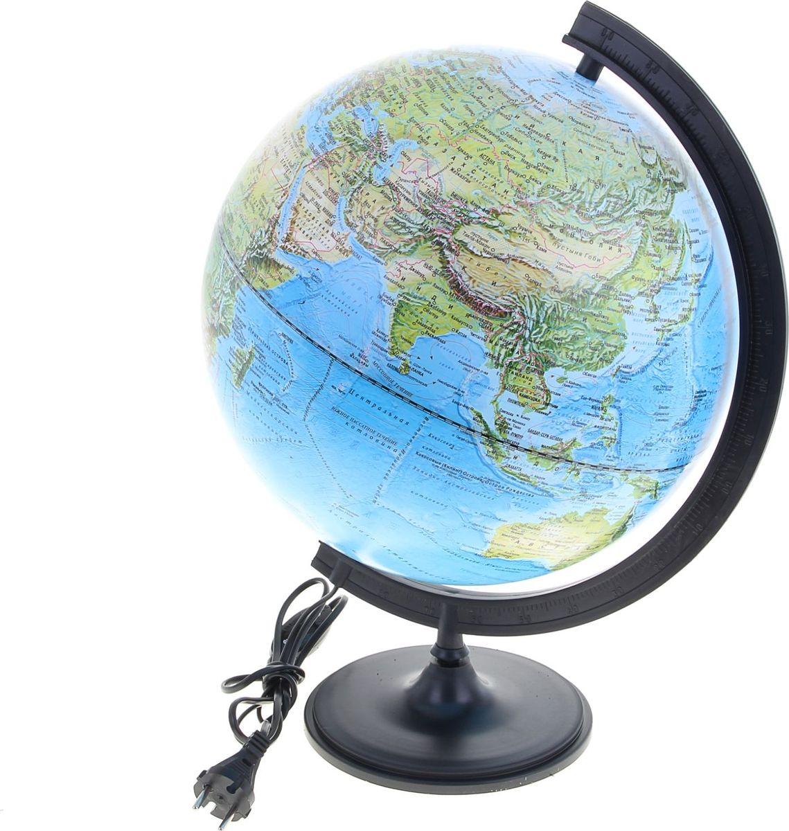 Глобусный мир Глобус ландшафтный с подсветкой диаметр 32 см1077871Глобус для всех, глобус каждому! Глобус — самый простой способ привить ребенку любовь к географии. Он является отличным наглядным примером, который способен в игровой доступной и понятной форме объяснить понятия о планете Земля. Также интерес к глобусам проявляют не только детки, но и взрослые. Для многих уменьшенная копия планеты заменяет атлас мира из-за своей доступности и универсальности. Умный подарок! Кому принято дарить глобусы? Всем! Глобус ландшафтный диаметр 320 мм, с подсветкой — это уменьшенная копия земного шара, в которой каждый найдет для себя что-то свое. путешественники и заядлые туристы смогут отмечать с помощью стикеров те места, в которых побывали или собираются их посетить деловые и успешные люди оценят такой подарок по достоинству, потому что глобус ассоциируется со статусом и властью преподаватели, ученые, студенты или просто неординарные личности также найдут для глобуса достойное место в своем доме. Итак, спешите заказать...