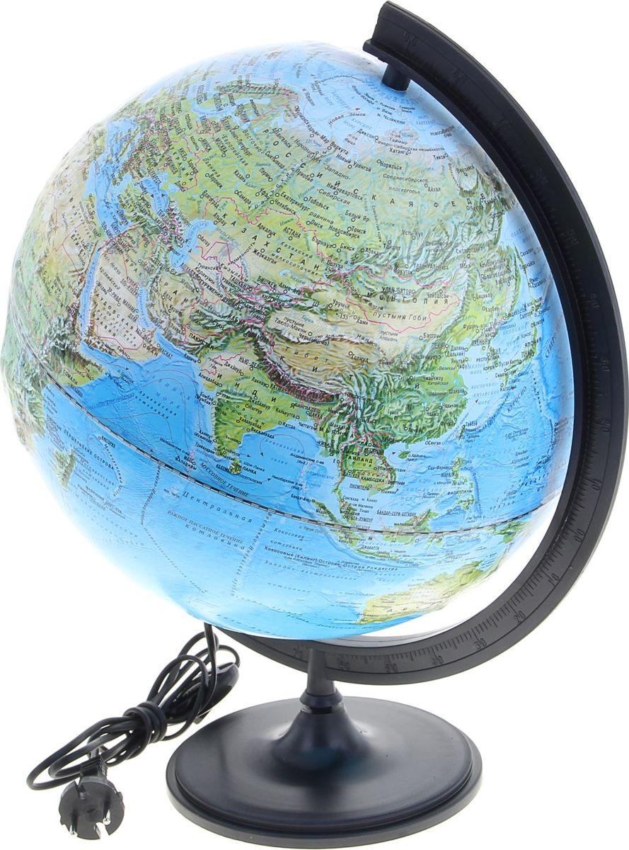 Глобусный мир Глобус ландшафтный рельефный с подсветкой диаметр 32 см1077875Глобус для всех, глобус каждому! Глобус — самый простой способ привить ребенку любовь к географии. Он является отличным наглядным примером, который способен в игровой доступной и понятной форме объяснить понятия о планете Земля. Также интерес к глобусам проявляют не только детки, но и взрослые. Для многих уменьшенная копия планеты заменяет атлас мира из-за своей доступности и универсальности. Умный подарок! Кому принято дарить глобусы? Всем! Глобус ландшафтный рельефный диаметр 320 мм, с подсветкой — это уменьшенная копия земного шара, в которой каждый найдет для себя что-то свое. путешественники и заядлые туристы смогут отмечать с помощью стикеров те места, в которых побывали или собираются их посетить деловые и успешные люди оценят такой подарок по достоинству, потому что глобус ассоциируется со статусом и властью преподаватели, ученые, студенты или просто неординарные личности также найдут для глобуса достойное место в своем доме. Итак,...