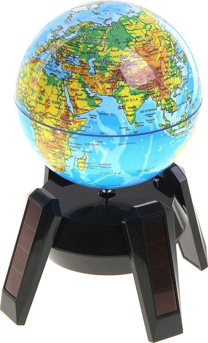Глобус Физическая карта на английском языке диаметр 14,2 см127175Глобус сувенирный на треноге, d=14.2 см, h=17 см, физическая карта, английский язык, на солнечной батарее, подсветка — это уменьшенная копия земного шара. Он познакомит с особенностями ландшафта и структурой планеты, на которой мы живем, даст представление о местоположении материков и океанов, стран и столиц. Сфера вращается на 360°. Для этого нужно зарядить солнечную батарею или вставить в отсек один элемент питания типа АА. Также изделие оснащено мягкой, приглушенной LED-подсветкой, которая работает только от батарейки АА. Макет Земли обладает приятной цветовой гаммой. Названия объектов приведены на английском языке. На глобусе отображены: картографическая сетка гидрографическая сеть рельеф суши и морского дна элементы почвенно-растительного покрова крупные населенные пункты. Характеристики Высота макета с подставкой: 16 см. Диаметр: 14 см. Масштаб: 1:120 000 000. Изготовлен из прочного пластика.