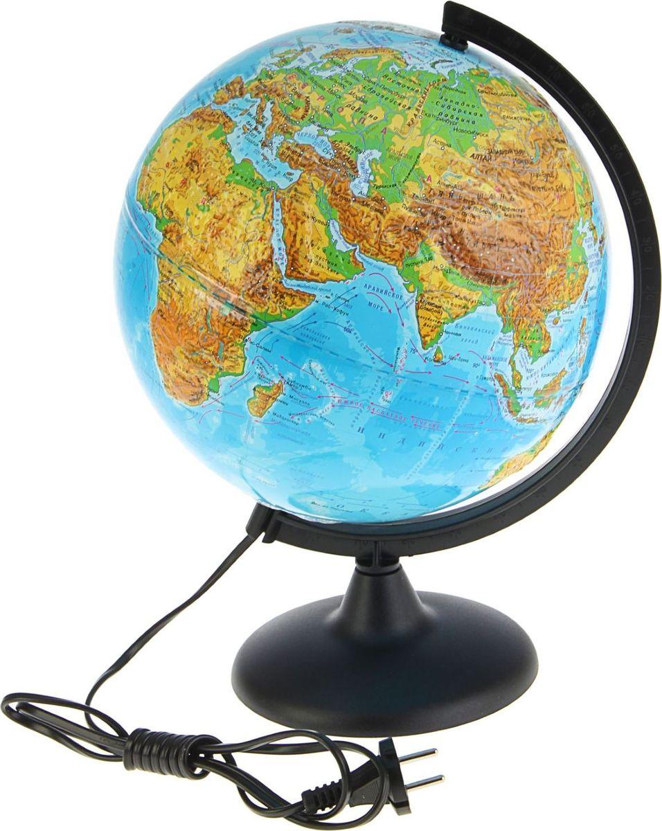Глобусный мир Глобус физический рельефный c подсветкой диаметр 25 см1809124