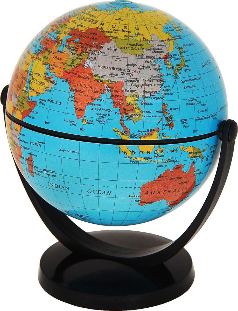 Глобус Политическая карта на английском языке цвет голубой диаметр 10,6 см цвет голубой