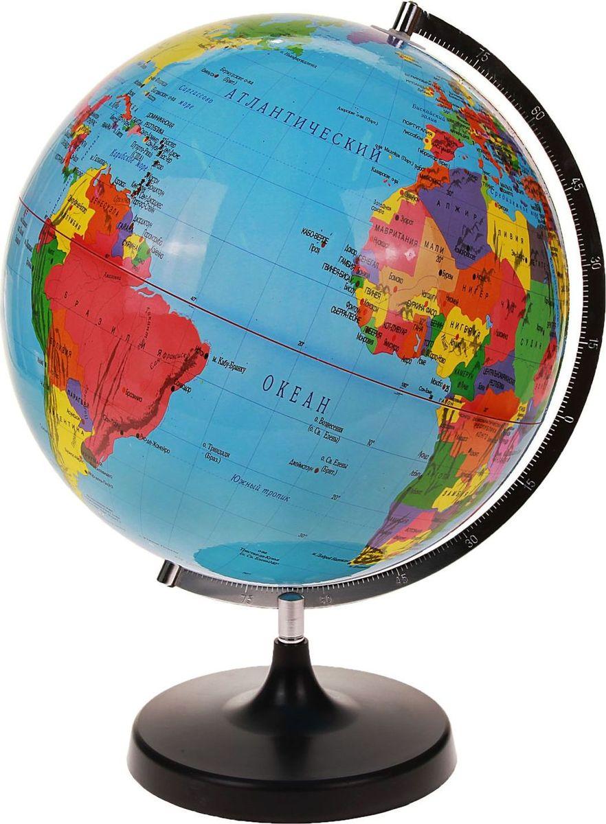 Глобус Политическая карта диаметр 32 см536750Данная модель дает представление о политическом устройстве мира. Макет показывает расположение государств, столиц и крупных населенных пунктов. Названия всех объектов приведены на русском языке. Страны окрашены в разные цвета, чтобы вам было удобнее ориентироваться. На глобусе отображены: экватор параллели меридианы градусы государственные границы демаркационные линии железнодорожные и морские пути сообщения. Характеристики Высота глобуса с подставкой: 42 см. Диаметр: 32 см. Изделие изготовлено из прочного пластика.
