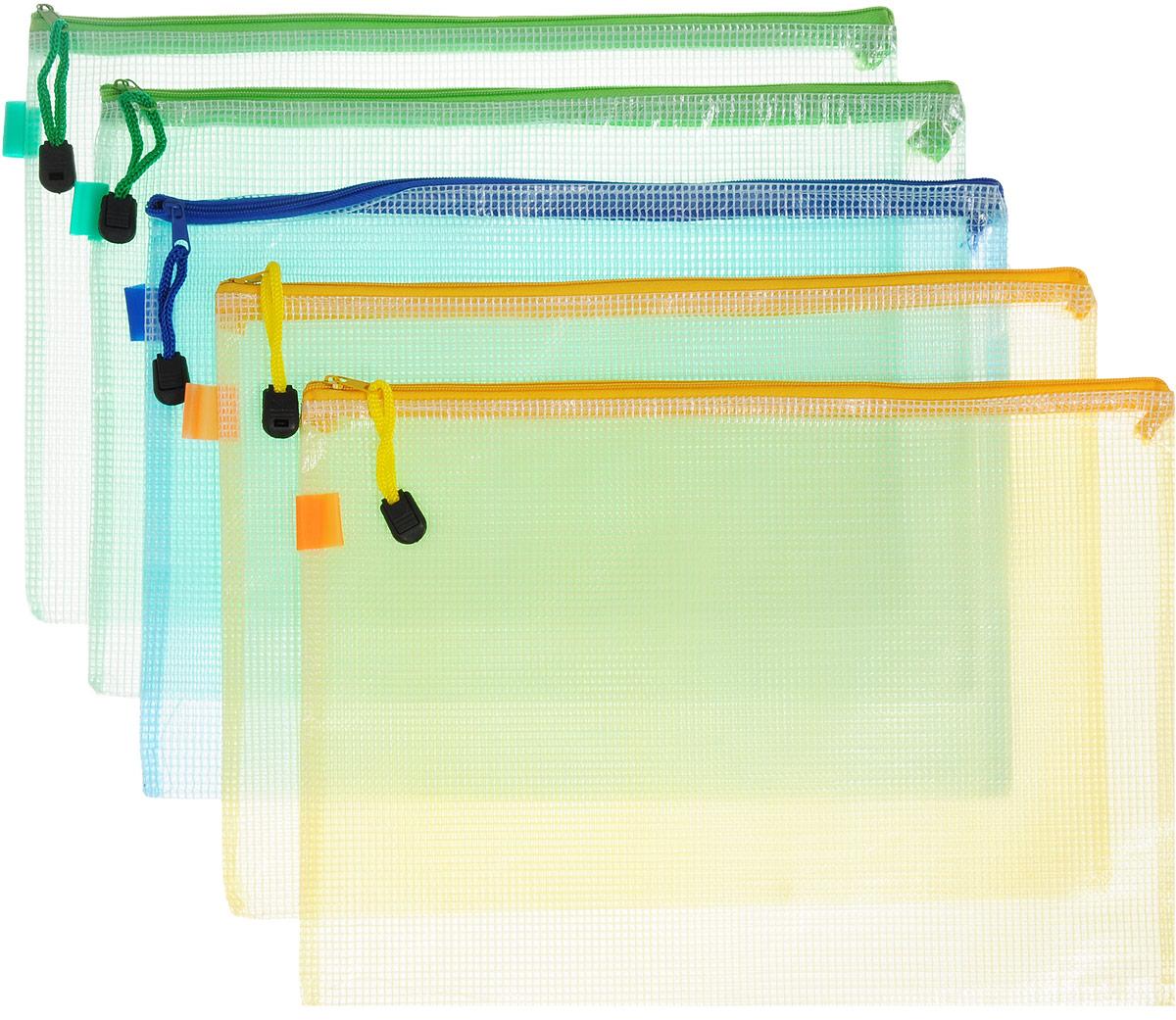 Centrum Папка на молнии цвет зеленый желтый голубой 5 шт80033_зеленый, желтый, голубойОригинальная папка Centrum - это удобный и функциональный инструмент, который идеально подойдет для хранения различных бумаг и документов формата А4, а также письменных принадлежностей. Папка изготовлена из прочного полупрозрачного пластика и надежно закрывается на застежку-молнию. Бегунок на застежке-молнии снабжен петлей со стоппером. Комплект включает в себя 5 папок. Такая папка практична в использовании и надежно сохранит ваши бумаги, сбережет их от повреждений, пыли и влаги.