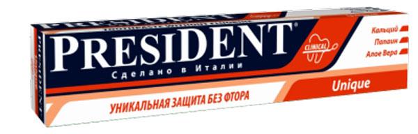 President Зубная паста Unique, 75 мл4310-502269President Unique зубная паста - это уникальное средство с системой кальция, которое рекомендуется всем живущим в регионе с повышенным содержанием фтора в воде. Особенности пасты President Unique: - контролируемая абразивность RDA 75 - аморфный и химически-инертный кремний обеспечивает эффективное и безопасное удаление зубного налета, предотвращает образование зубного камня. - средство можно применять каждый день, что отличает ее от прочих медицинских зубных паст, которые необходимо использовать только в течение определенного времени. - защита от бактерий, вызывающих кариес. - эффективно и бережно удаляет бактериальный налёт. - быстрое восстановление блеска, гладкости эмали, природной белизны зубов. - благотворно влияет на дёсны, предупреждает кровоточивость. - является богатым источником кальция и фосфатов. Объем 75 мл.