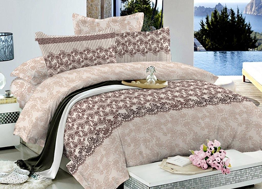 Комплект белья Primavera Кружево коричневое, 2-спальный, наволочки 70x7092038
