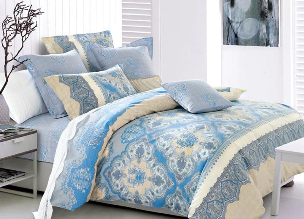 Комплект белья Primavera Салфетка голубая, семейный, наволочки 70x7092060