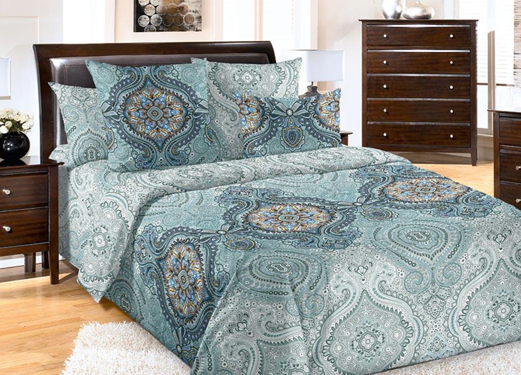 Комплект белья Primavera Медальон бирюза, 2-спальный, наволочки 70x7092090