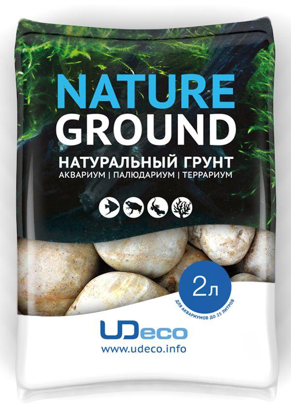 """Грунт для аквариума UDeco """"Светлая галька"""", натуральный, 30-50 мм, 2 л UDC430242"""