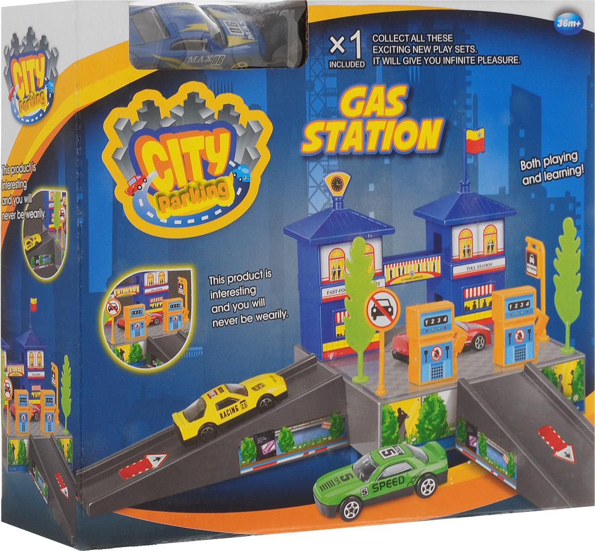 Dave Toy Игровой набор Заправочная станция цвет машины синий 32020_синий