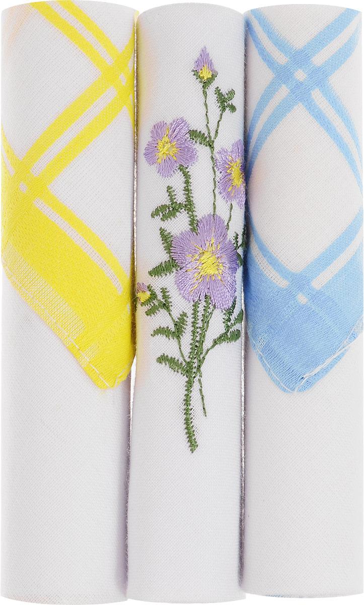 Платок носовой женский Zlata Korunka, цвет: желтый, белый, голубой, 3 шт. 40423-68. Размер 28 см х 28 см40423-68Небольшой женский носовой платок Zlata Korunka изготовлен из высококачественного натурального хлопка, благодаря чему приятен в использовании, хорошо стирается, не садится и отлично впитывает влагу. Практичный и изящный носовой платок будет незаменим в повседневной жизни любого современного человека. Такой платок послужит стильным аксессуаром и подчеркнет ваше превосходное чувство вкуса. В комплекте 3 платка.