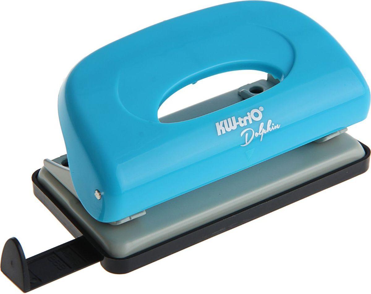 KW-Тrio Дырокол Dolphin с линейкой на 10 листов цвет голубой