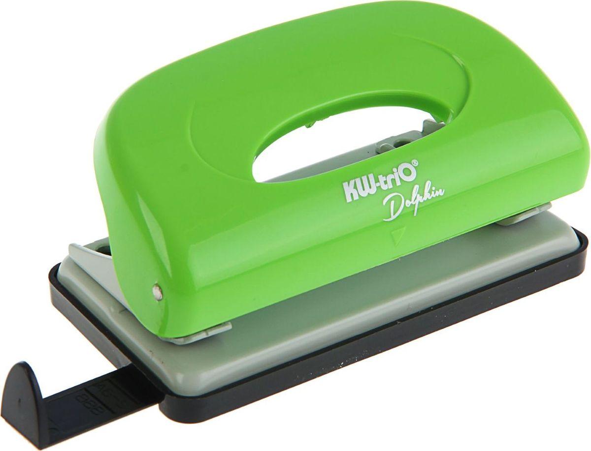 KW-Тrio Дырокол Dolphin с линейкой на 10 листов цвет зеленый1306265