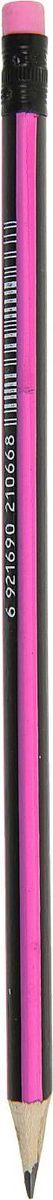 Карандаш чернографитный с ластиком цвет корпуса черный розовый1963299