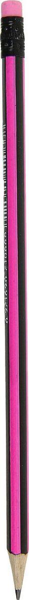 Карандаш чернографитный с ластиком цвет корпуса розовый черный1963300