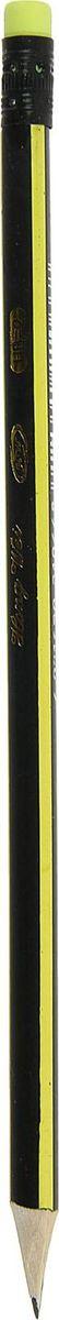 Карандаш чернографитный с ластиком твердость НВ цвет корпуса желтый черный1963301