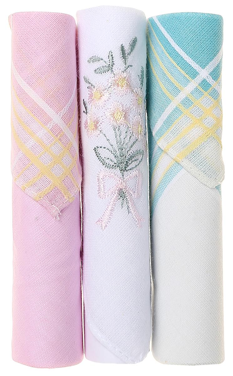 Платок носовой женский Zlata Korunka, цвет: белый, розовый, бирюзовый, 3 шт. 40423-113. Размер 28 см х 28 см40423-113Небольшой женский носовой платок Zlata Korunka изготовлен из высококачественного натурального хлопка, благодаря чему приятен в использовании, хорошо стирается, не садится и отлично впитывает влагу. Практичный и изящный носовой платок будет незаменим в повседневной жизни любого современного человека. Такой платок послужит стильным аксессуаром и подчеркнет ваше превосходное чувство вкуса. В комплекте 3 платка.