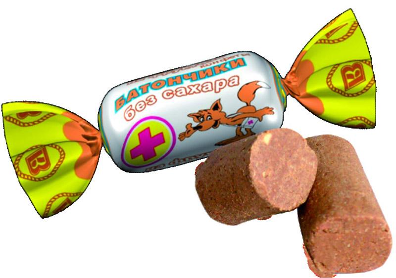 Батончики конфеты без сахара на фруктозе, 250 г (Воронеж)ВО10566Конфеты -батончики ВКФ без сахара, на фруктозе