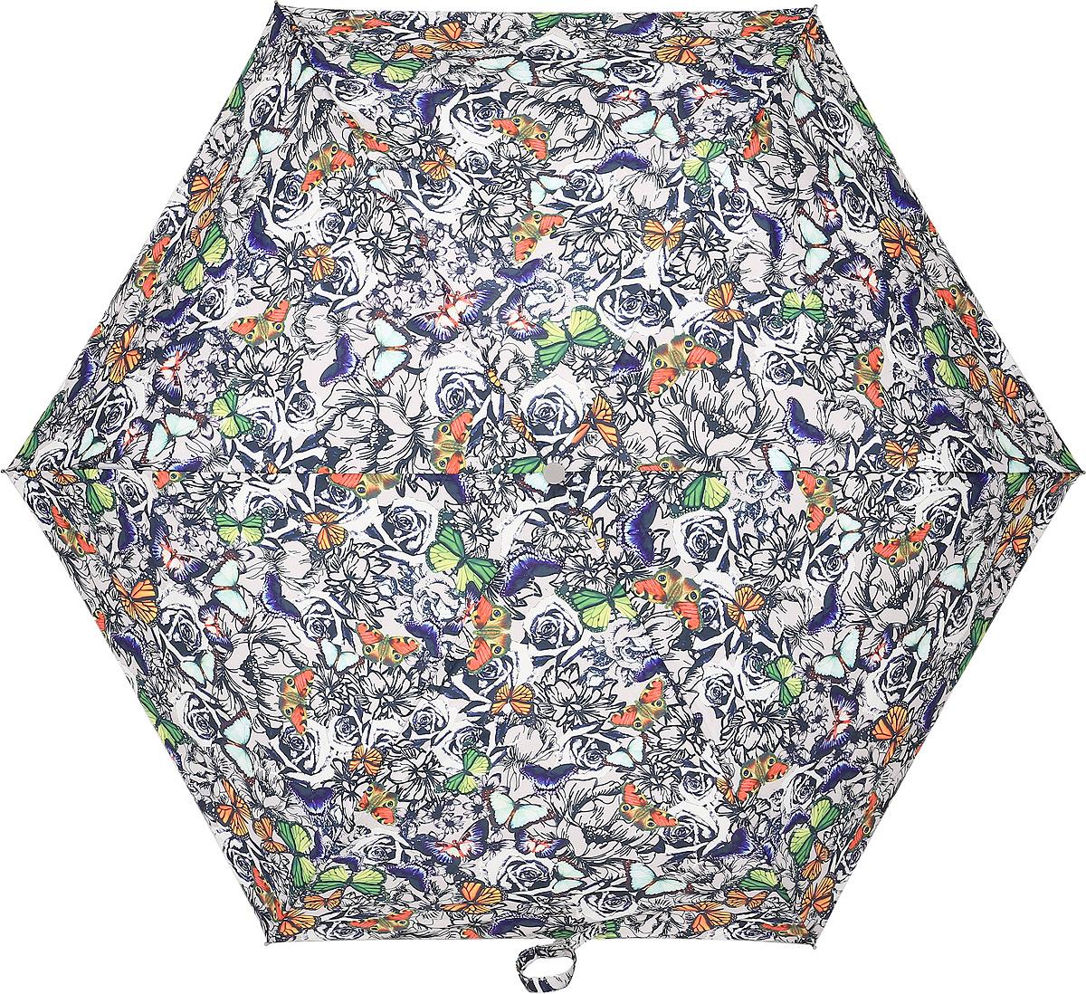 Зонт женский Fulton, механический, 3 сложения, цвет: мультиколор. L553-3285L553-3285 ButterflyNRosesСтильный механический зонт Fulton имеет 3 сложения, даже в ненастную погоду позволит вам оставаться стильной. Легкий, но в тоже время прочный алюминиевый каркас состоит из шести спиц с элементами из фибергласса. Купол зонта выполнен из прочного полиэстера с водоотталкивающей пропиткой. Рукоятка закругленной формы, разработанная с учетом требований эргономики, выполнена из каучука. Зонт имеет механический способ сложения: и купол, и стержень открываются и закрываются вручную до характерного щелчка.