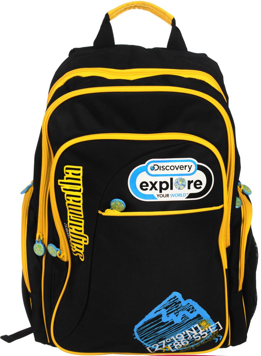 Action! Рюкзак школьный Discovery цвет черный желтыйDV-AB11055/2/14Школьный рюкзак Action! Discovery станет надежным спутником в получении знаний. Рюкзак выполнен из прочного полиэстера. Рюкзак состоит из двух вместительных отделений, закрывающихся на молнии. Одно из отделений содержит кармашек для мелочей на застежке-молнии и открытый карман с уплотненной стенкой на хлястике с липучкой. Во втором отделении расположен большой открытый карман-сетка. На лицевой стороне имеются два кармана на молнии - прорезной и накладной. В накладном расположены два открытых кармашка и три фиксатора для пишущих принадлежностей. По бокам рюкзака находятся два внешних накладных кармана, закрывающихся на молнии, и по два открытых сетчатых кармашка. Рюкзак оснащен широкими мягкими лямками, регулируемыми по длине, которые равномерно распределяют нагрузку на плечевой пояс, и двумя удобными текстильными ручками для переноски в руке. Рюкзак снабжен светоотражающими вставками.