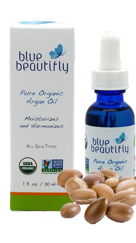 Blue Beautifly 100% органическое аргановое масло, 30 млBB-005Органическое Аргановое масло богато незаменимыми жирными кислотами, витамином Е, содержит каротины и протеины. Аргановое масло является мощным антиоксидантом, оказывает противовоспалительное и антибактериальное действие в борьбе против свободных радикалов. Уменьшает морщины, шрамы и растяжки, увлажняет и успокаивает, стабилизирует уровень выработки кожного сала и устраняет бактерии, которые вызывают акне. Масло питает и укрепляет волосы и ногти, имеет легкую и нежную текстуру, отлично впитывается,нерафинированное. Органический сертифицированный продукт, полученный путем холодного отжима. Подходит для ежедневного использования на всех типов кожи.USDA сертифицированный органический продукт.