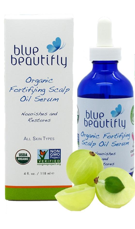 Blue Beautifly Органическая укрепляющая сыворотка для корней волос и кожи головы, 118 млBB-014Для всех типов волос. Органическая сыворотка стимулирует и питает кожу головы и волосяные фолликулы растительными веществами, стимулируя рост здоровых волос. Она лечит волосы, улучшает кровообращение, выводит токсины способствует росту здоровых и блестящих волос. Комплекс органических экстрактов восстанавливает ваши волосы естественным путем, стимулируя их рост на корневом уровне. Сыворотка богата полезными маслами: Жожоба, Арганы, Кунжута и семян Камелии . Эта смесь обладает регенерирующими и питательными свойствами для волосяных фолликулов. Ароматерапевтические эфирные масла: Грейпфрута, Лимона, Герани, Лаванды, Розмарина и Иланг-Иланга способствуют росту густых и красивых волос. USDA сертифицированный органический продукт.