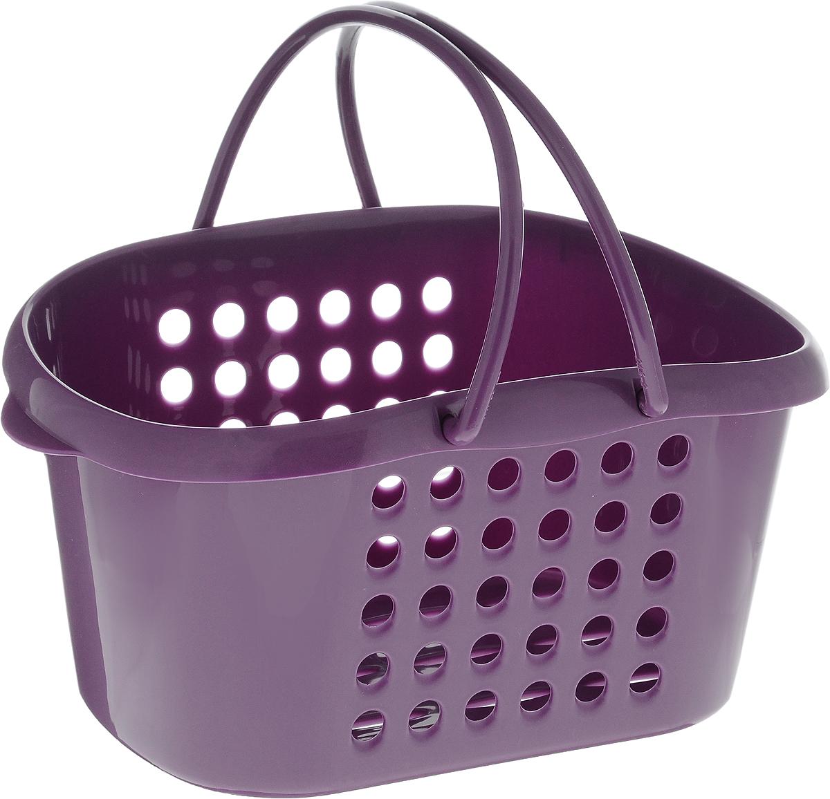 Корзинка универсальная Бытпласт, с ручками, цвет: фиолетовый, 23 х 17,5 х 11,5 см847544_фиолетовыйУниверсальная корзинка Бытпласт изготовлена из высококачественного пластика и предназначена для хранения и транспортировки вещей. Корзинка подойдет как для пищевых продуктов, так и для ванных принадлежностей и различных мелочей. Изделие оснащено двумя ручками для более удобной транспортировки. Основание и стенки корзинки оформлены перфорацией. Универсальная корзинка Бытпласт позволит вам хранить вещи компактно и с удобством.