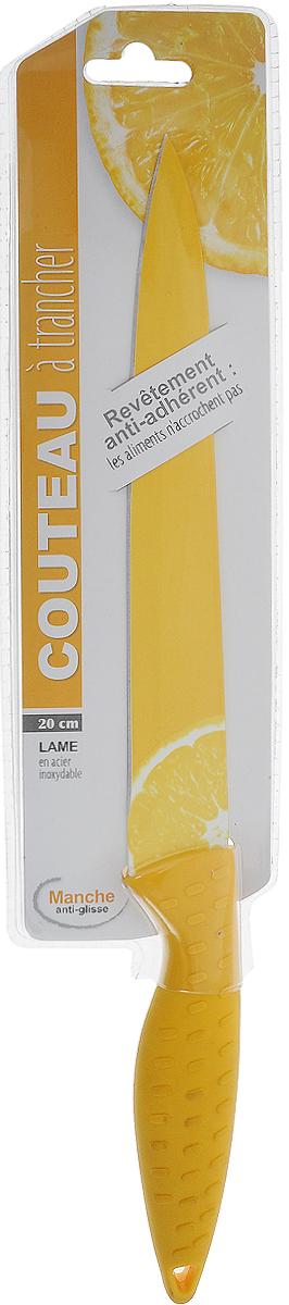 Нож JJA, цвет: желтый. 120293120293Предназначен для резки различных продуктов. Лезвие ножа, украшено красивым рисунком, выполнено из нержавеющей стали со специальным покрытием. Рукоятка, выполненная из силикона, удобно лежит в руке, не скользит и делает резку удобной и безопасной. Этот нож станет замечательным помощником и великолепно украсит интерьер вашей кухни.