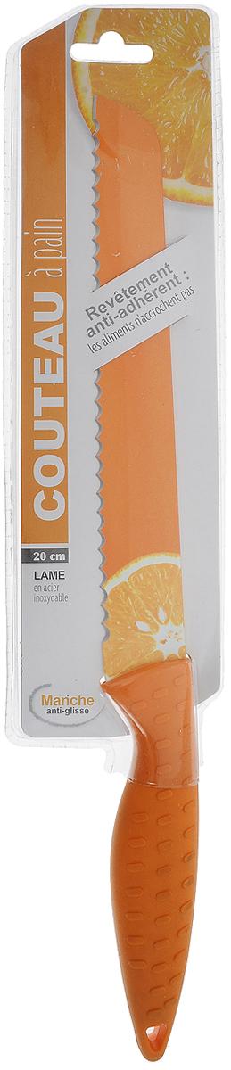 Нож JJA, цвет: оранжевый. 120292120292Предназначен для нарезки хлеба. Лезвие ножа, украшено красивым рисунком, выполнено из нержавеющей стали со специальным покрытием. Рукоятка, выполненная из силикона, удобно лежит в руке, не скользит и делает резку удобной и безопасной. Этот нож станет замечательным помощником и великолепно украсит интерьер кухни.