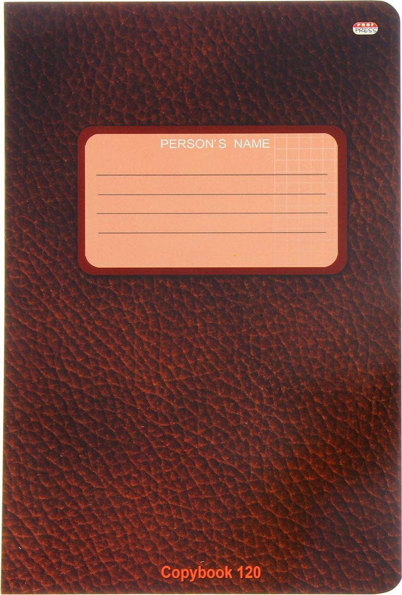 Проф-Пресс Тетрадь 120 листов в клетку цвет темно-коричневый1544485