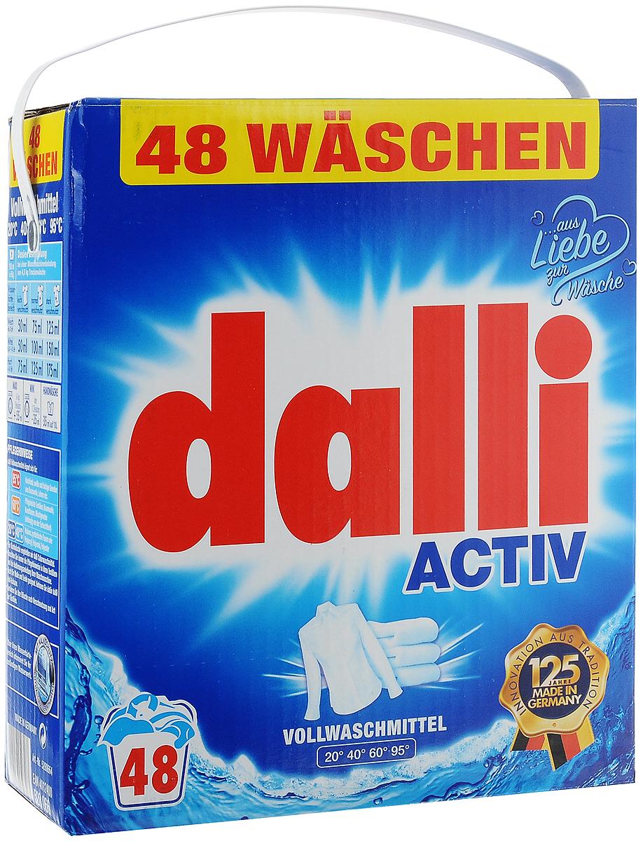 Стиральный порошок Dalli Activ, универсальный, 3,12 кг528066Универсальный стиральный порошок Dalli Activ с новой формулой и ОХI эффектом для глубокой очистки волокон превосходно удаляет даже трудновыводимые и застарелые загрязнения уже при температуре 20°С. Белье и одежда снова становятся чистыми и ухоженными. Порошок подходит для ручной и машинной стирки белого белья из хлопка, льна, искусственных волокон, смесовых тканей. Оригинальная рецептура, оптимально подобранные компоненты и входящий в состав активный кислород обеспечивают наивысший отстирывающий показатель в диапазоне температур от 20 до 95°С. Порошок не повреждает волокна тканей и сохраняет яркость и насыщенность красок цветного белья. Не рекомендуется для шерсти и шелка. Товар сертифицирован.
