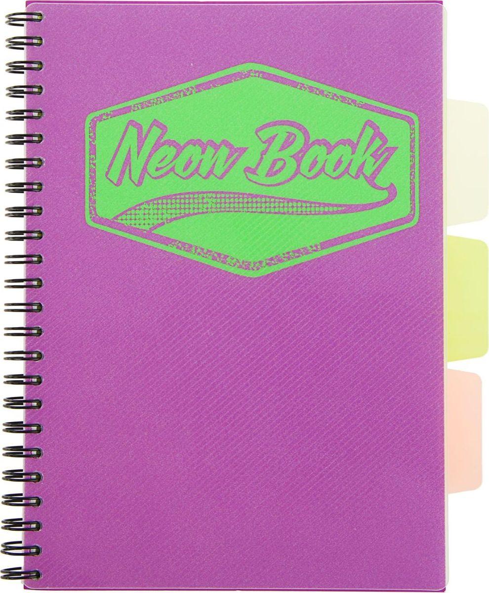 Expert Complete Тетрадь с разделителями Neon Book 120 листов в клетку цвет фиолетовый1898212