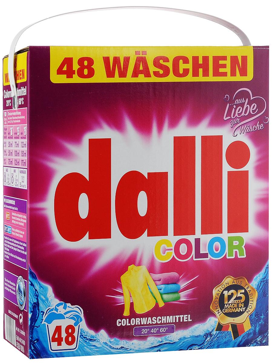 Стиральный порошок Dalli Color, для цветных тканей, 3,12 кг528080Стиральный порошок Dalli Color с активной системой долговременной защиты цвета надежно предохраняет цветные ткани от выцветания, потери яркости и насыщенности окраски, предотвращает смешивание красок. Цвета даже после многочисленных стирок остаются интенсивными и сияющими. Средство обладает безупречным отстирывающим показателем, удаляет даже застарелые трудновыводимые загрязнения. Порошок подходит как для ручной, так и для машинной стирки в воде любой жесткости при температуре от 20 до 60°С. Добавление средства для уменьшения жесткости воды не требуется. Порошок придает белью и одежде приятный аромат свежести. Не содержит отбеливателей и оптических осветлителей. Рекомендуется использовать для хлопка, искусственных волокон, смесовых тканей, вискозы, синтетических волокон (полиакрил, полиамид, полиэстер). Не рекомендуется применять для шерсти и шелка. Одна упаковка рассчитана на 48 стирок. Товар сертифицирован.