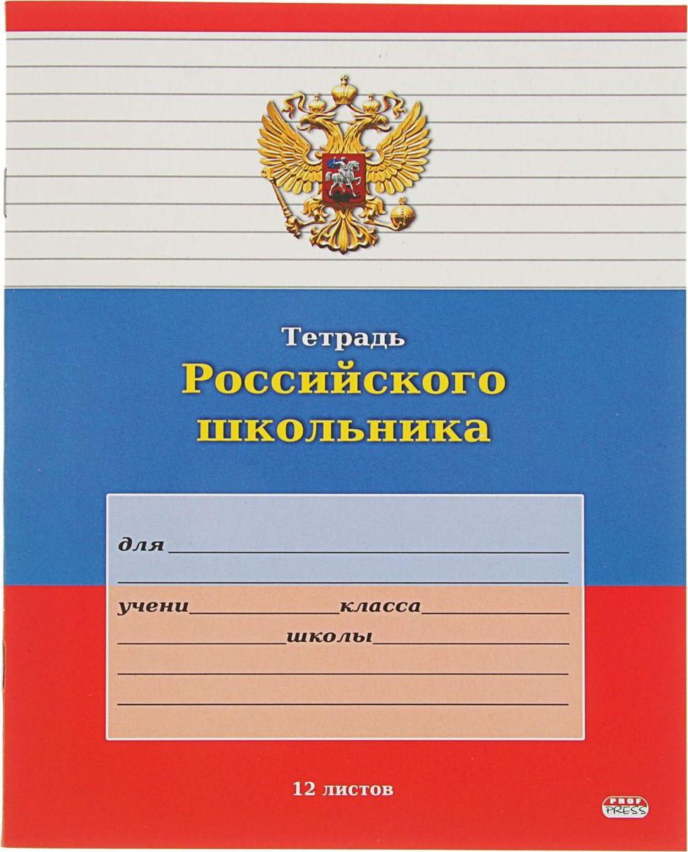 Проф-Пресс Тетрадь Российского школьника-4 12 листов в линейку